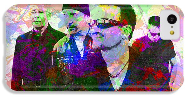 U2 Band Portrait Paint Splatters Pop Art IPhone 5c Case by Design Turnpike