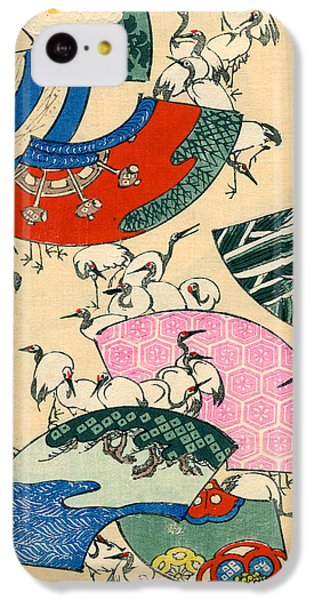Vintage Japanese Illustration Of Fans And Cranes IPhone 5c Case by Japanese School