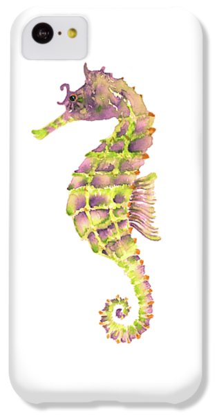 Violet Green Seahorse IPhone 5c Case by Amy Kirkpatrick