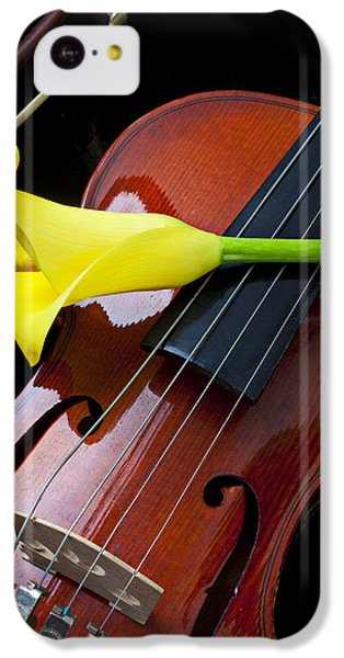Violin With Yellow Calla Lily IPhone 5c Case by Garry Gay