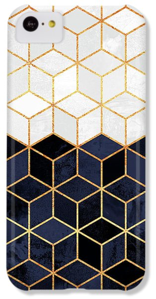 White And Navy Cubes IPhone 5c Case by Elisabeth Fredriksson