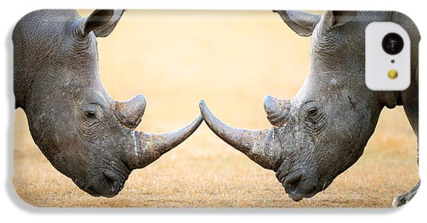 White Rhinoceros  Head To Head IPhone 5c Case by Johan Swanepoel