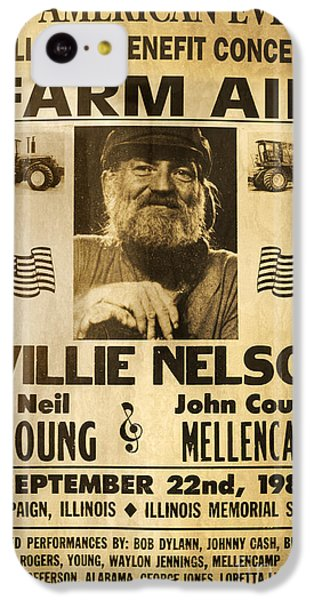 Willie Nelson Neil Young 1985 Farm Aid Poster IPhone 5c Case by John Stephens