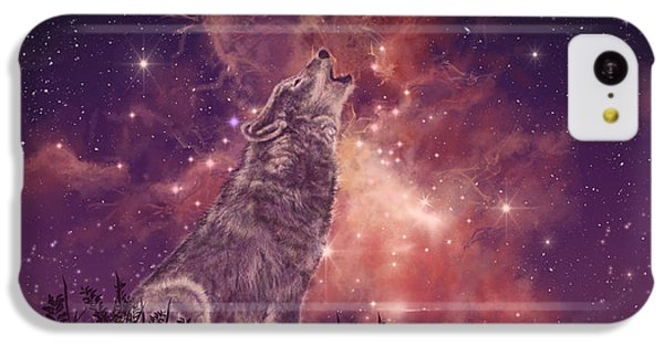 Wolf And Sky Red IPhone 5c Case by Bekim Art