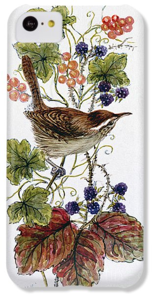 Wren On A Spray Of Berries IPhone 5c Case by Nell Hill
