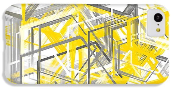 Yellow And Gray Geometric Shapes Art IPhone 5c Case by Lourry Legarde