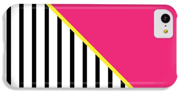 Yellow Pink And Black Geometric 2 IPhone 5c Case by Linda Woods