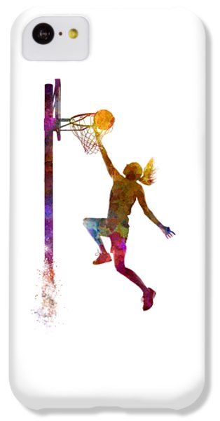 Young Woman Basketball Player 04 In Watercolor IPhone 5c Case by Pablo Romero