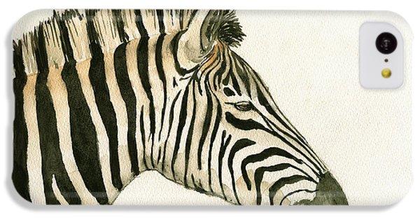 Zebra Head Study Painting IPhone 5c Case by Juan  Bosco