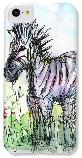 Zebra Painting Watercolor Sketch IPhone 5c Case by Olga Shvartsur