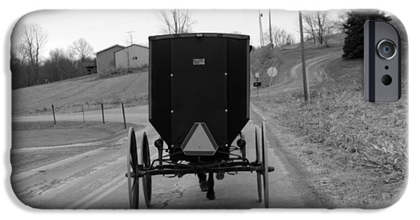 Amish Community iPhone Cases -        A Cold Amish Ride iPhone Case by Wendy Aycox  Newkirk