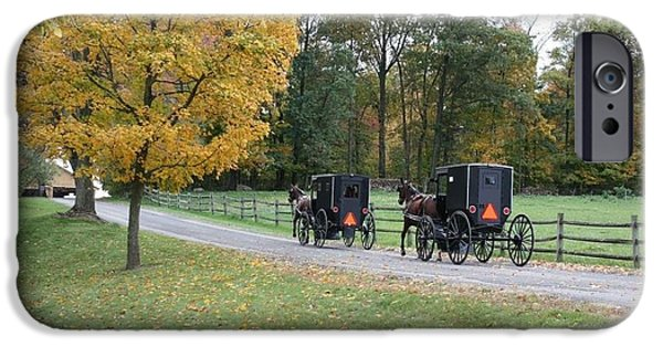 Amish Community Photographs iPhone Cases -      An Autumn Amish Ride iPhone Case by R A W M