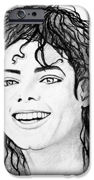 Mj Drawings iPhone Cases - # 1 Micheal Jackson portraits. iPhone Case by Alan Armstrong