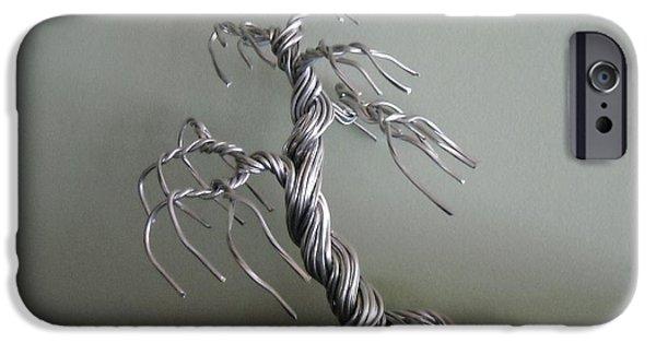 Storm Sculptures iPhone Cases - # 14 Storm-Struck wire tree sculpture iPhone Case by Ricks  Tree Art