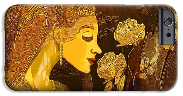 Irmgard iPhone Cases -   171 - Woman with Golden Roses     iPhone Case by Irmgard Schoendorf Welch