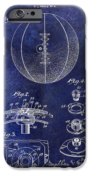 Nike Photographs iPhone Cases -  1927 Basketball Patent Drawing Blue iPhone Case by Jon Neidert