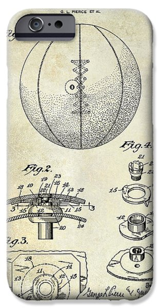 Nike Photographs iPhone Cases -  1927 Basketball Patent Drawing iPhone Case by Jon Neidert