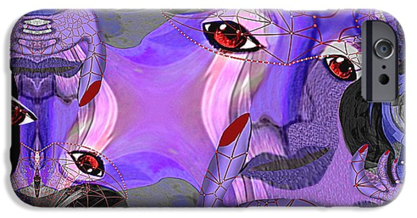 Thinking iPhone Cases -  487 - Pink Purple Chaos iPhone Case by Irmgard Schoendorf Welch