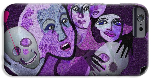 Hallucination iPhone Cases -  524 - Skull and friends iPhone Case by Irmgard Schoendorf Welch