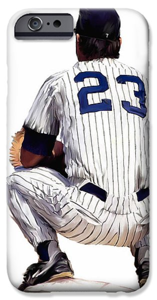 Baseball Drawings iPhone Cases -  A Moment To Remember II Don Mattingly  iPhone Case by Iconic Images Art Gallery David Pucciarelli