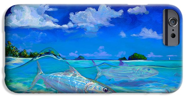 Shark Paintings iPhone Cases -  A Place Id Rather Be - Caribbean Bonefish Fly Fishing Painting iPhone Case by Mike Savlen