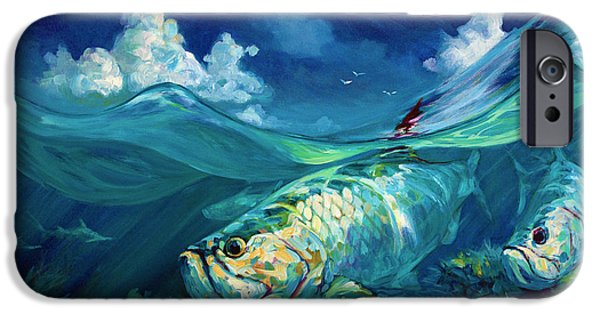 Flyfishing iPhone Cases -  A Place Id Rather Be - Caribbean Tarpon Fish Fly Fishing Painting iPhone Case by Mike Savlen