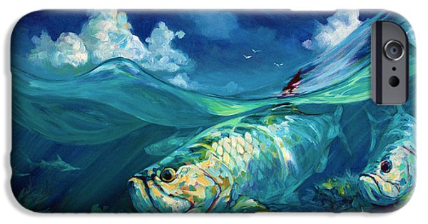 Shark Paintings iPhone Cases -  A Place Id Rather Be - Caribbean Tarpon Fish Fly Fishing Painting iPhone Case by Mike Savlen