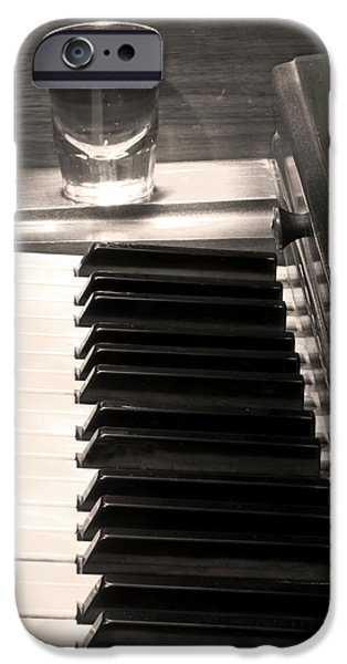 Piano iPhone Cases -  A shot of Bourbon Whiskey and The BW Piano Ivory Keys in Sepia iPhone Case by James BO  Insogna