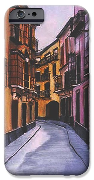 Vibrant Colors Drawings iPhone Cases -  A Street in Seville Spain iPhone Case by Diane Strain