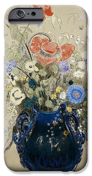 Tasteful Art iPhone Cases -  A Vase of Blue Flowers iPhone Case by Odilon Redon