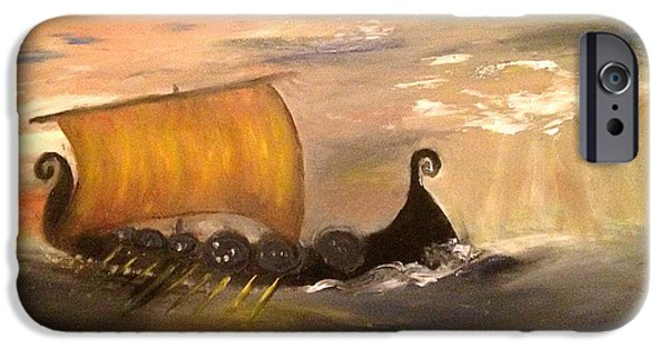 Vikings Paintings iPhone Cases -  A Vikings Journey iPhone Case by Melanie Parry Parry