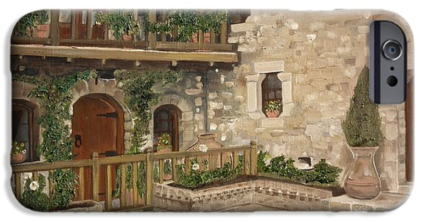 Balcony iPhone Cases - Greek Courtyard - Agiou Stefanou Monastery -Balcony iPhone Case by Jan Dappen