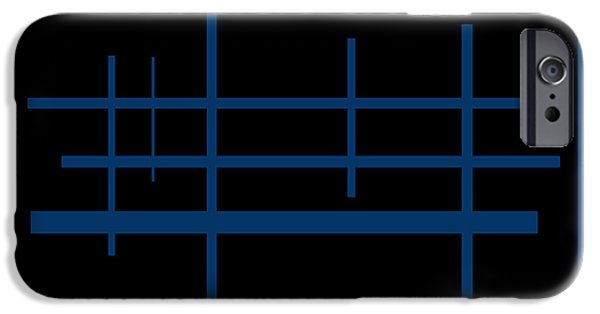 Buildings Mixed Media iPhone Cases -  Agoraphobia The Blue Fence Protects Her iPhone Case by Sir Josef Putsche