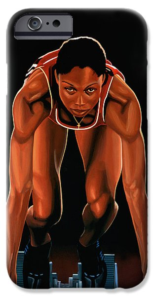 Olympics Paintings iPhone Cases -  Allyson Felix  iPhone Case by Paul Meijering