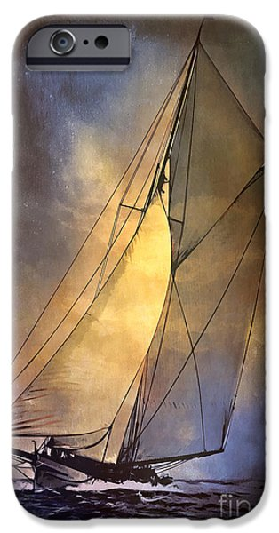 Sailboat Ocean iPhone Cases -  Americas Cup  1887 iPhone Case by Andrzej Szczerski