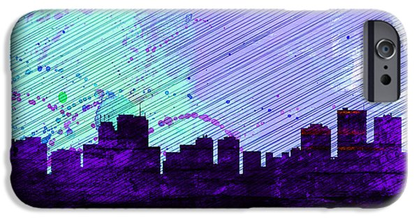Horizon Paintings iPhone Cases -  Anchorage City Skyline iPhone Case by Naxart Studio