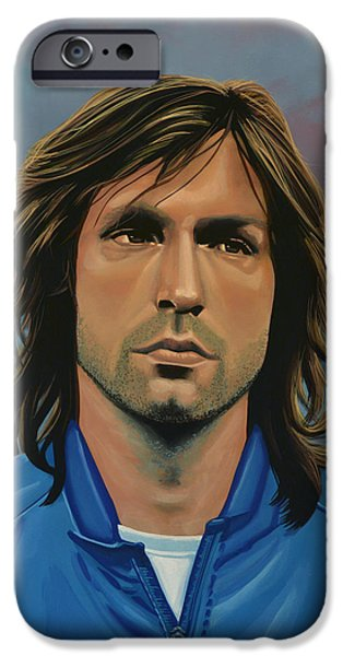 Football Paintings iPhone Cases -  Andrea Pirlo iPhone Case by Paul Meijering