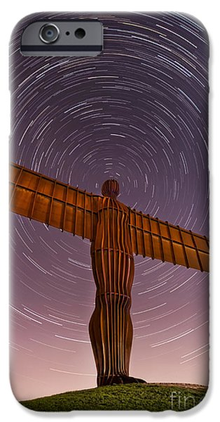 Night Angel iPhone Cases -  Angel of the North Stars iPhone Case by Ray Pritchard