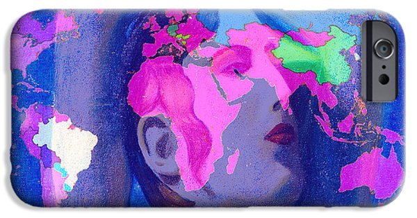 Earth Map Digital Art iPhone Cases -  Aphrodite and World Map  iPhone Case by Augusta Stylianou
