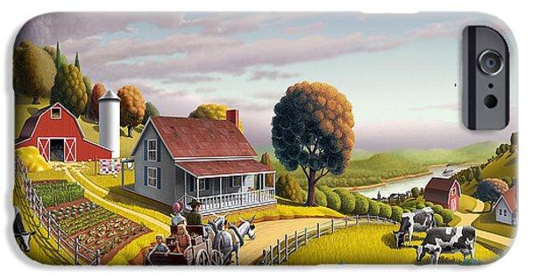 West Digital Art iPhone Cases -  Appalachian Blackberry Patch Rustic Country Farm Folk Art Landscape - Rural Americana - Peaceful iPhone Case by Walt Curlee