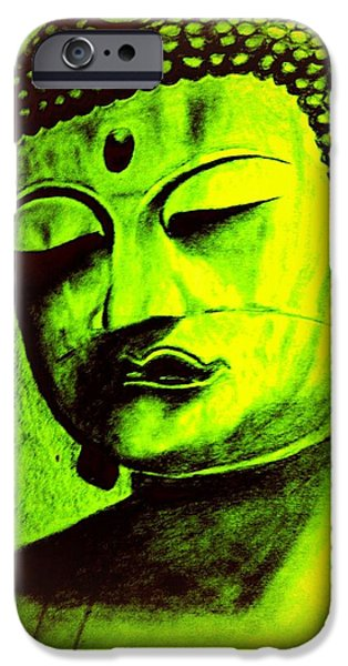 Buddhism Drawings iPhone Cases -  Asian Buddha iPhone Case by Irving Starr