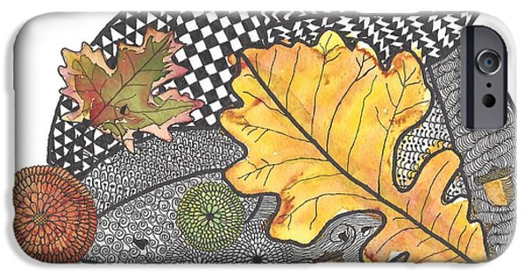 Pen And Ink iPhone Cases -  Autumn Leaves iPhone Case by Terry Fleckney