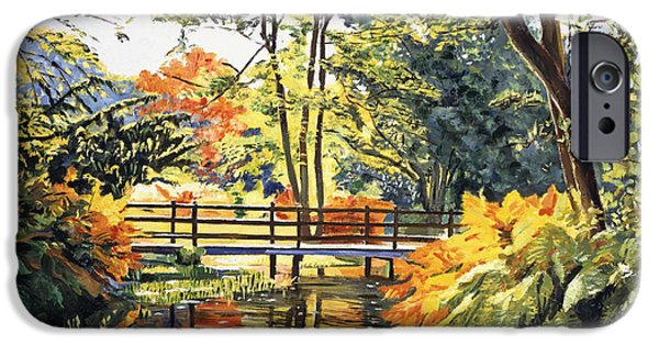 Featured Paintings iPhone Cases -  Autumn Water Bridge iPhone Case by David Lloyd Glover