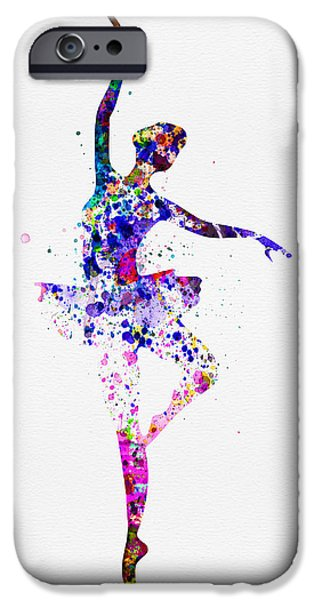 Entertainment iPhone Cases -  Ballerina Dancing Watercolor 2 iPhone Case by Naxart Studio