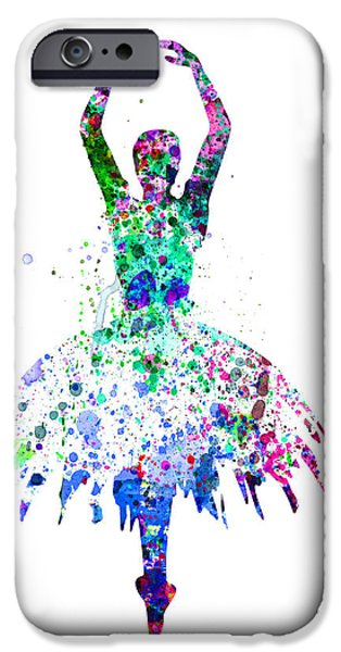Ballet Digital Art iPhone Cases -  Ballerina Dancing Watercolor 4 iPhone Case by Naxart Studio