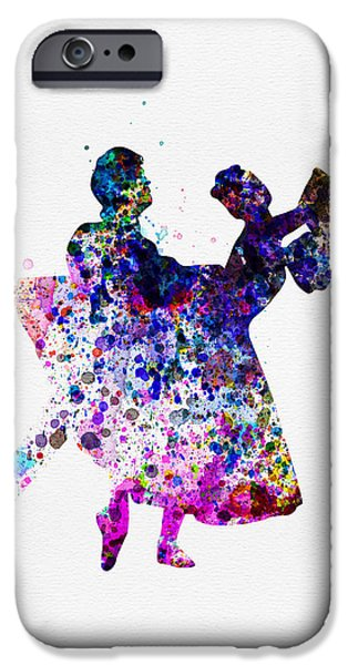 Ballet Digital Art iPhone Cases -  Ballet Dancers Watercolor 1 iPhone Case by Naxart Studio