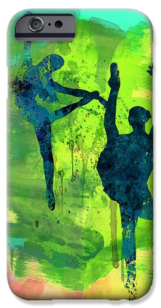 Entertaining iPhone Cases -  Ballet Watercolor 1 iPhone Case by Naxart Studio