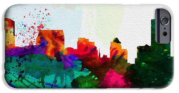 Horizon Paintings iPhone Cases -  Baltimore City Skyline iPhone Case by Naxart Studio