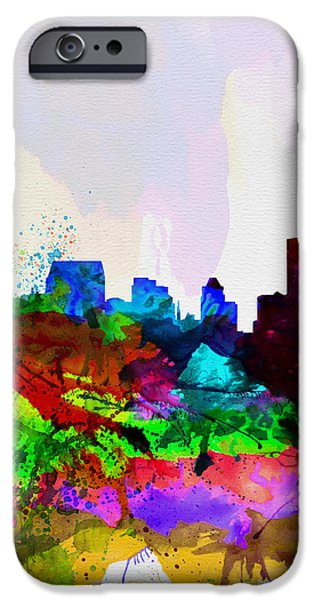 Baltimore iPhone Cases -  Baltimore Watercolor Skyline iPhone Case by Naxart Studio