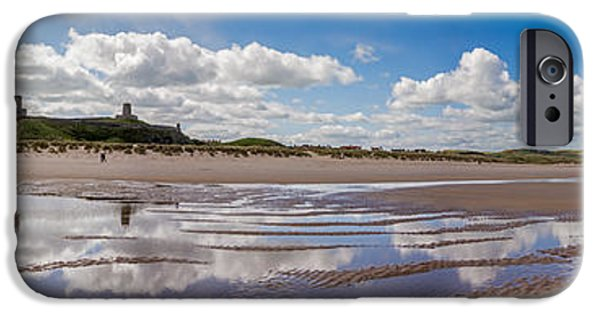 Sand Castles iPhone Cases -  Bamburgh Castle Panorama iPhone Case by Bahadir Yeniceri